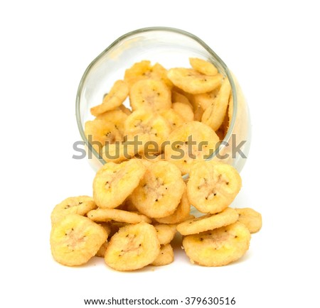 Dried banana slices isolated on white background - stock photo