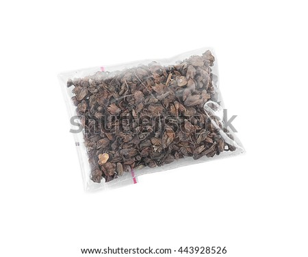 Dried basil (rayhon) in plastic zipper bag, isolated on white