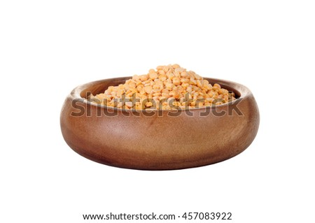 Dried beans peas in a wooden bowl, isolated on a white background. ingredient for a healthy lifestyle and diet.  - stock photo