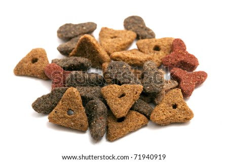 dried cat food isolated - stock photo