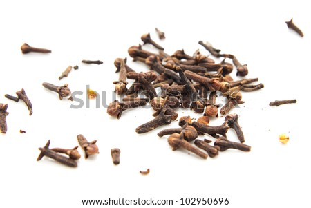 Dried cinnamon on a white background