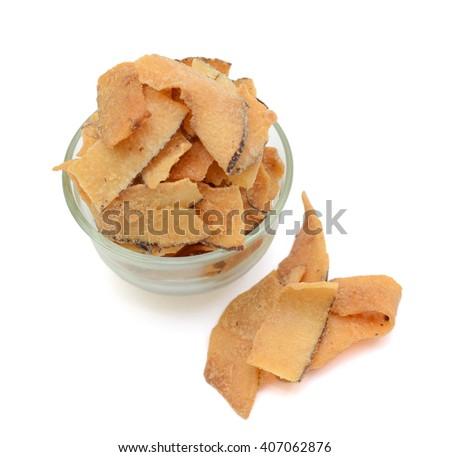 dried coconut fruit slice isolated on white background - stock photo