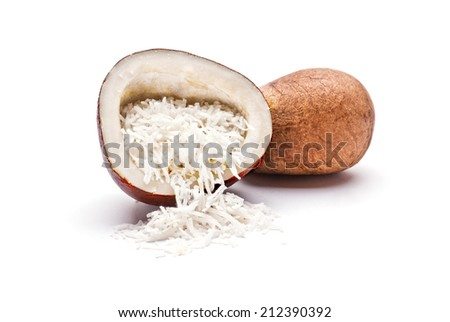 Dried Coconut isolated on white background