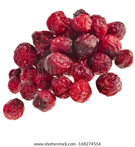 Dried cranberries heap pile isolated on white background  - stock photo
