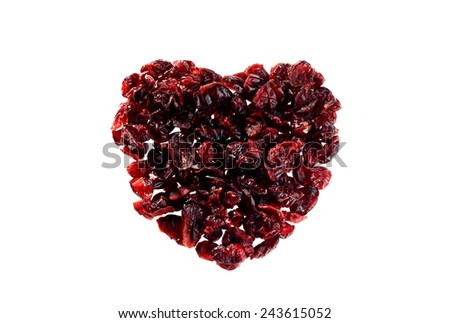 Dried Cranberries heart shaped isolated on white background - stock photo