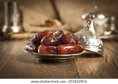 Dried date palm fruits or kurma, ramadan ( ramazan ) food  - stock photo
