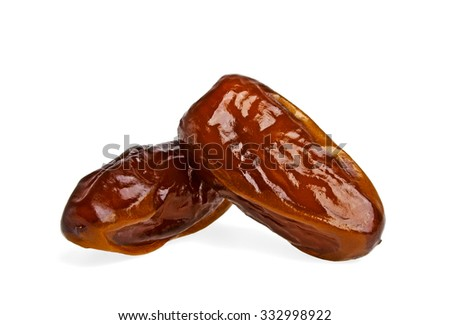 Dried dates fruits isolated on white background - stock photo