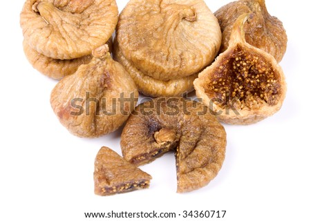 Dried fig fruit isolated on white background