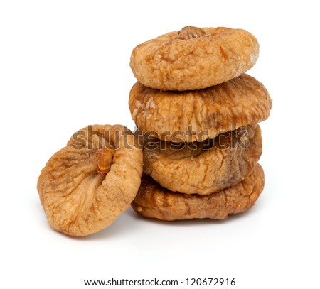 dried figs isolated on white - stock photo