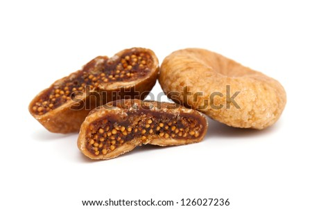 dried figs isolated on white background - stock photo