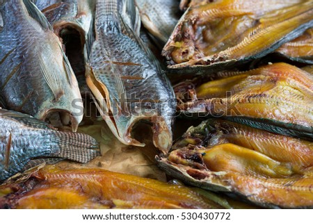 Dried fish  in market Thailand.