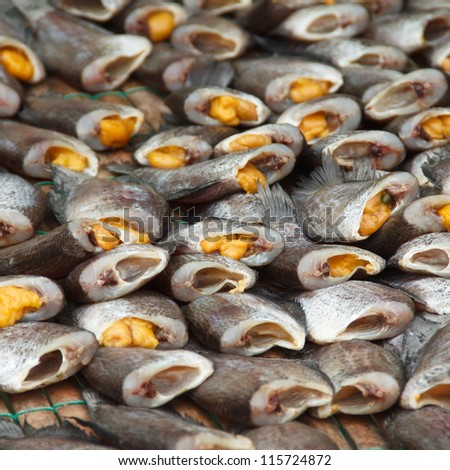 Dried fish is a popular food of Asia - stock photo