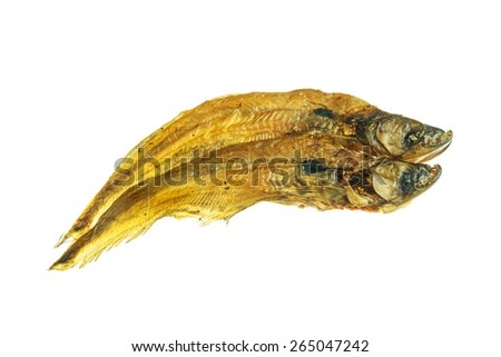 dried fish isolated on white background. - stock photo
