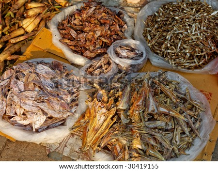 dried fish on a fish market - stock photo