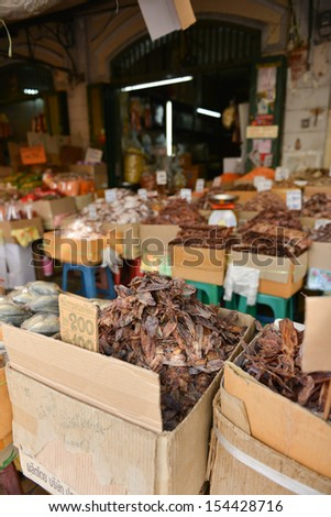 Dried fish, seafood product at market from Thailand.  - stock photo
