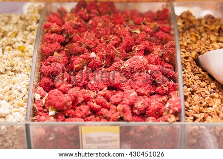 Dried flowers of pomegranate. Closeup picture - stock photo