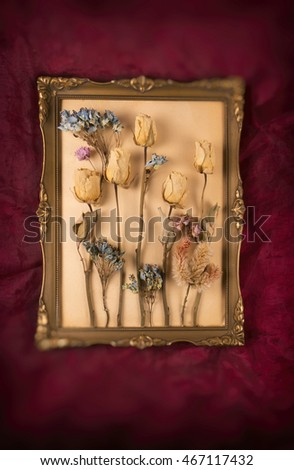 Dried flowers, vintage gold frame on red background