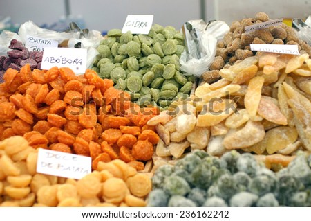 Dried food in a market - stock photo