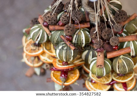 Dried Fruit and Cinnamon Stick Decoration