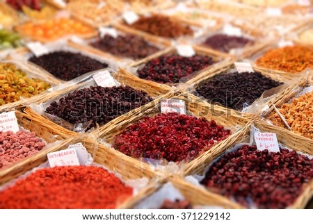 Dried fruit at a grocery market in Florence, Italy. - stock photo