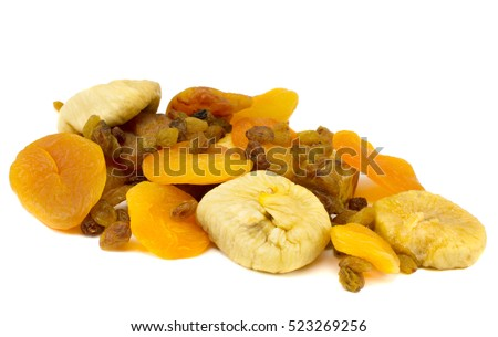 dried fruit, dried apricots, raisins, figs on a white background