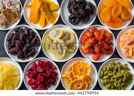 Dried fruit group photo - stock photo