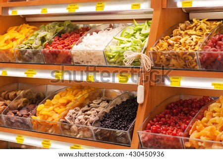 Dried fruits at bazaar - stock photo