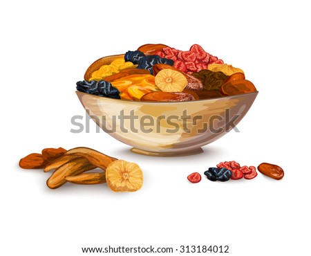 Dried fruits bowl composition with prune banana dried apricot  illustration - stock photo