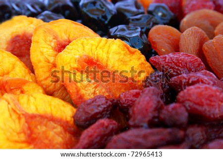Dried fruits close up picture. - stock photo
