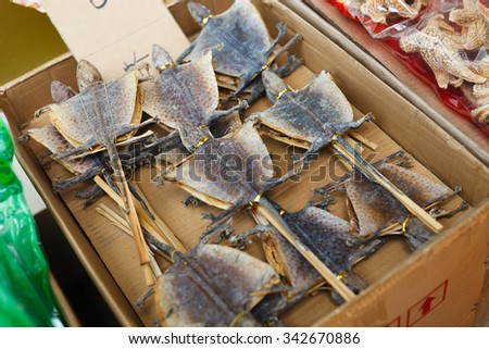 Dried gecko on stick at street market in Hong Kong - stock photo