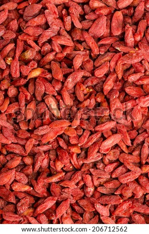 Dried Goji Berries for use as background image or as texture - stock photo