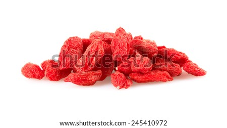 Dried goji berries, isolated on white background  - stock photo