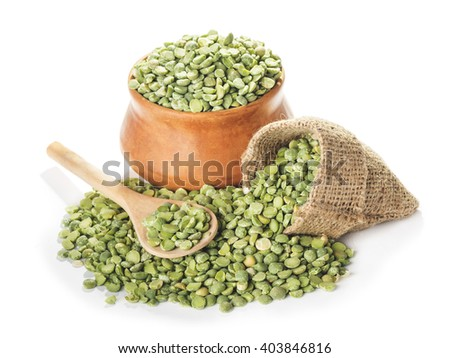 dried green peas  in bowl and spoon close-up isolated on white background - stock photo