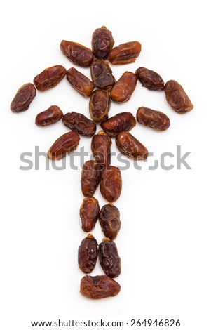 Dried halawi dates isolated on a white background.  - stock photo
