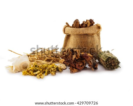 Dried herbal medicine  chinese on white background - stock photo