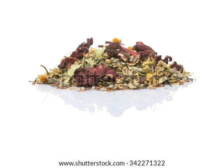Dried herbal tea leaves, lavender, rooibos, chamomile, linden flower, hibiscus, Japanese green tea over white background - stock photo