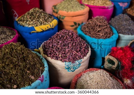 Dried herbs for sale in the souks of Marrakesh - stock photo
