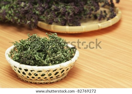 Dried herbs wild thyme and oregano - stock photo
