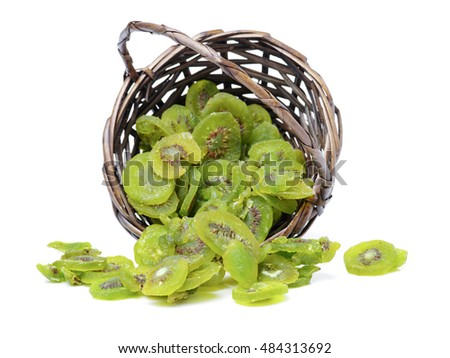 Dried kiwi isolated on white background