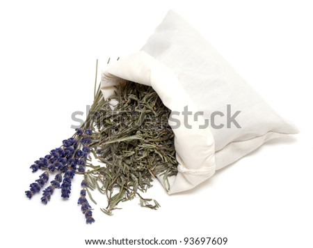 dried lavender leafs in a cotton bag - stock photo