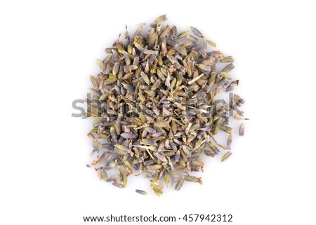dried lavender organic tea Isolated on white background - stock photo