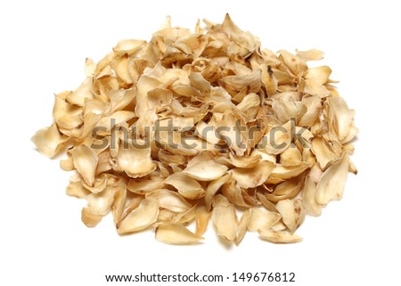 dried lily bulbs, traditional chinese herbal medicine on white background