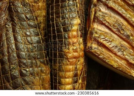 Dried meat delicatessen - stock photo