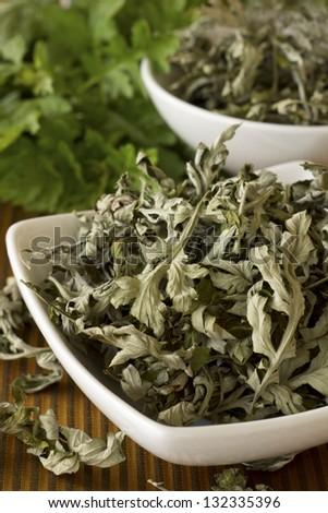 Dried Mugwort or Ai Ye; Non sharpened file - stock photo