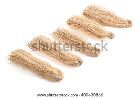 dried noodle on white background