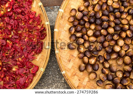 Dried Nutmeg - stock photo