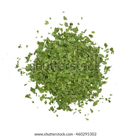 Dried parsley isolated on white background shot from above