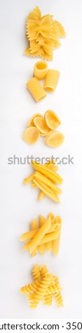 Dried pasta assortment over white background - stock photo