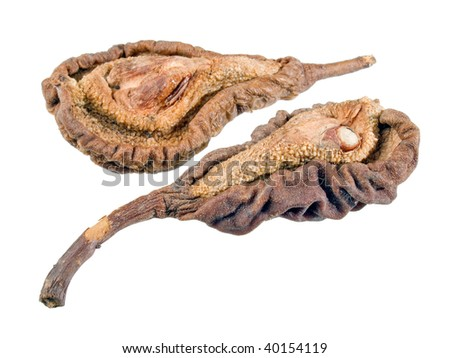 Dried pears on white background (isolated).