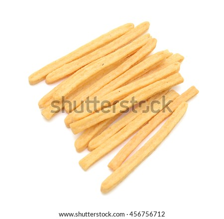 Dried potato slices isolated on white background - stock photo